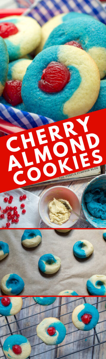 A collage of baked, red, white, and blue cherry almond cookies, plus in process images of cookie dough, and formed cookies on baking sheet.
