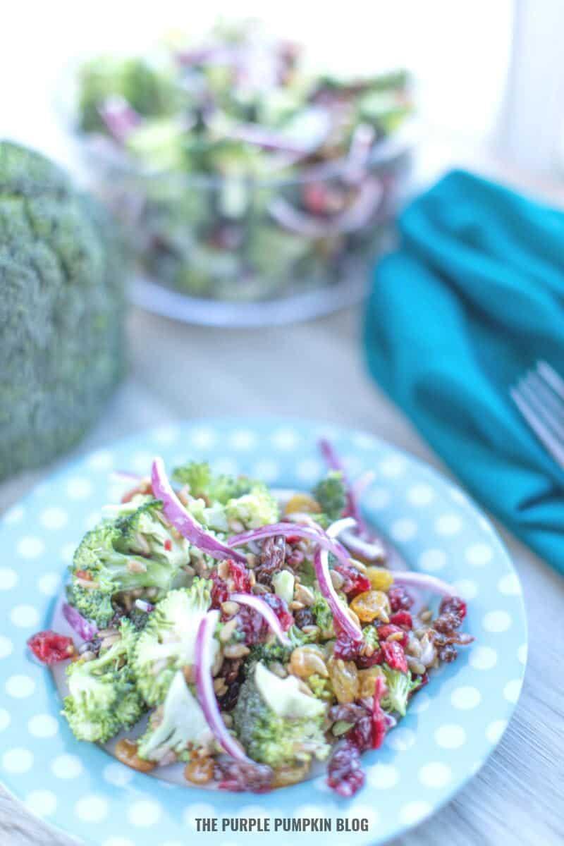 Plate of broccoli bacon Salad