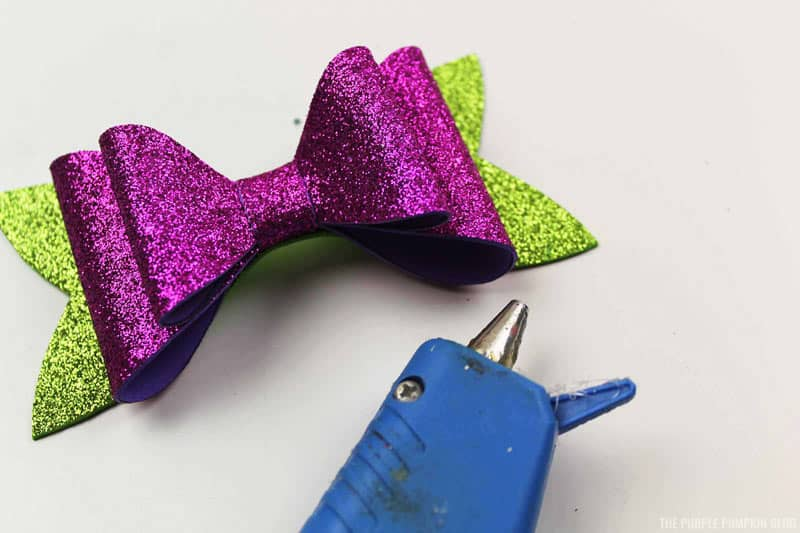 Completed Purple & Green Bow