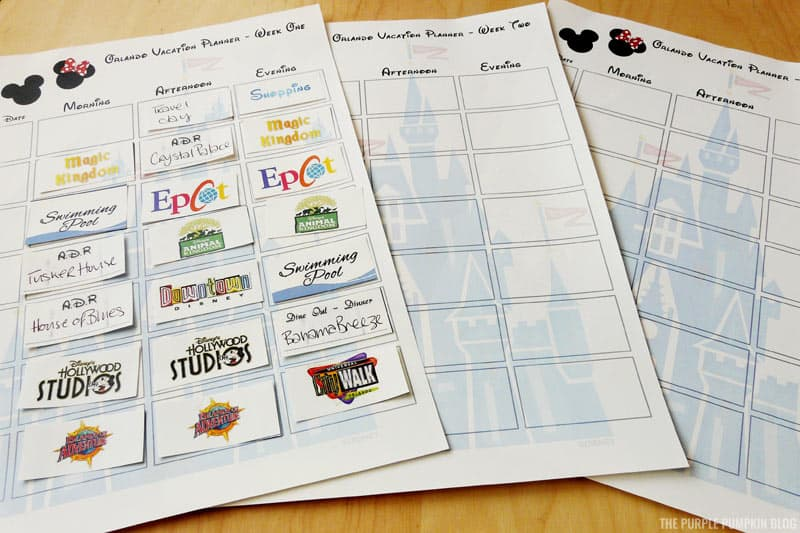 Disney Vacation Planner Printables
