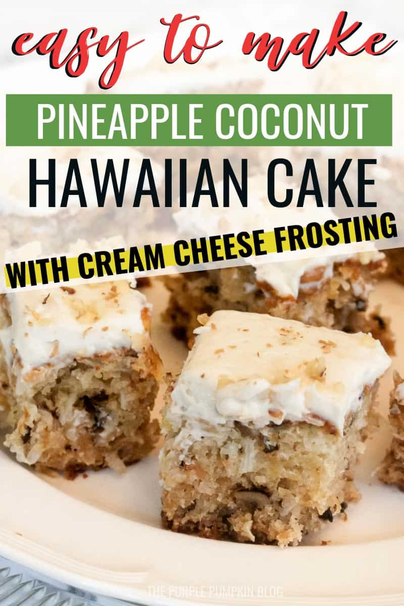 Squares of pineapple coconut Hawaiian cake with cream cheese frosting