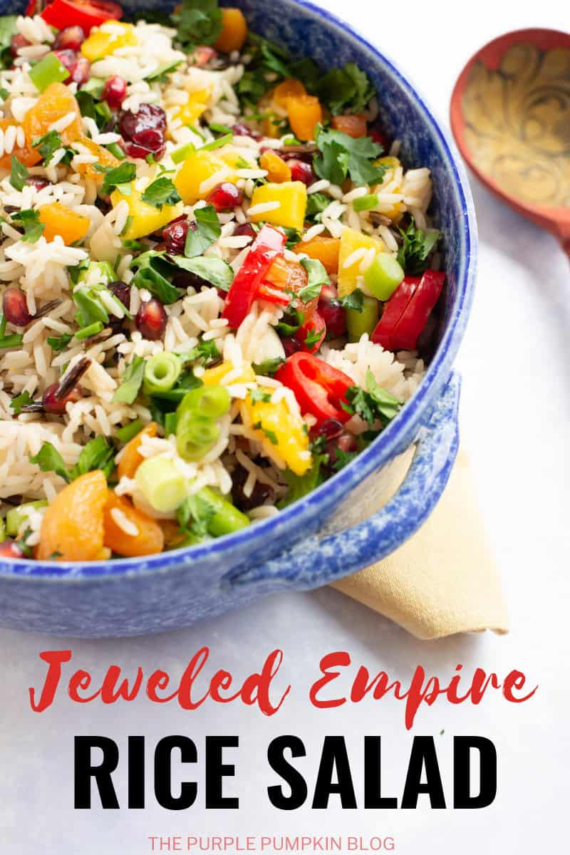 A blue bowl filled with Empire Rice Salad