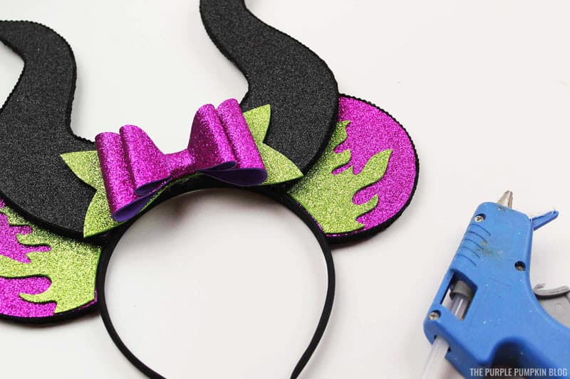 Glue Bow to Maleficent Ears