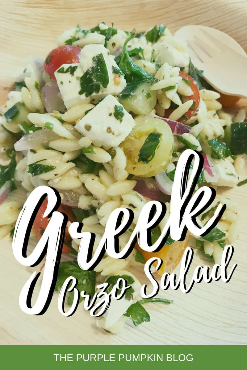 A plate of Greek orzo salad
