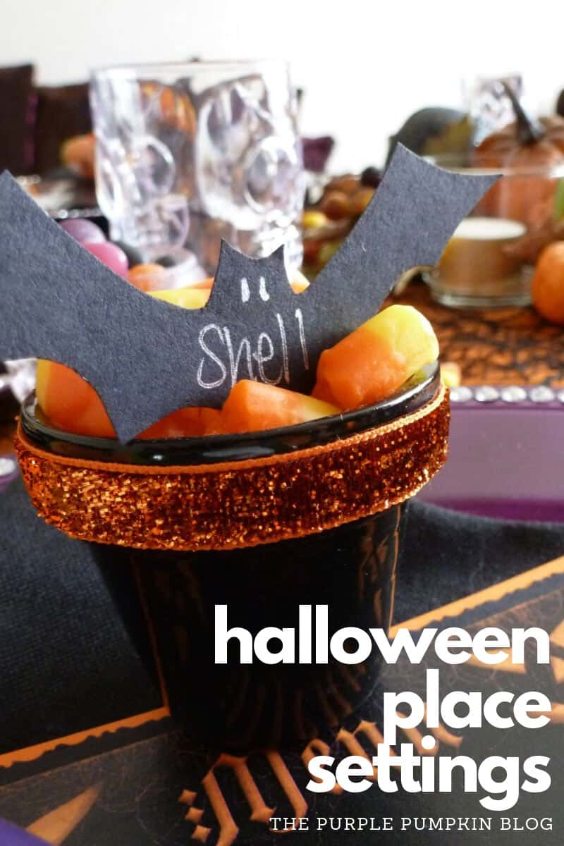 Candy Corn & Bat Halloween Place Settings