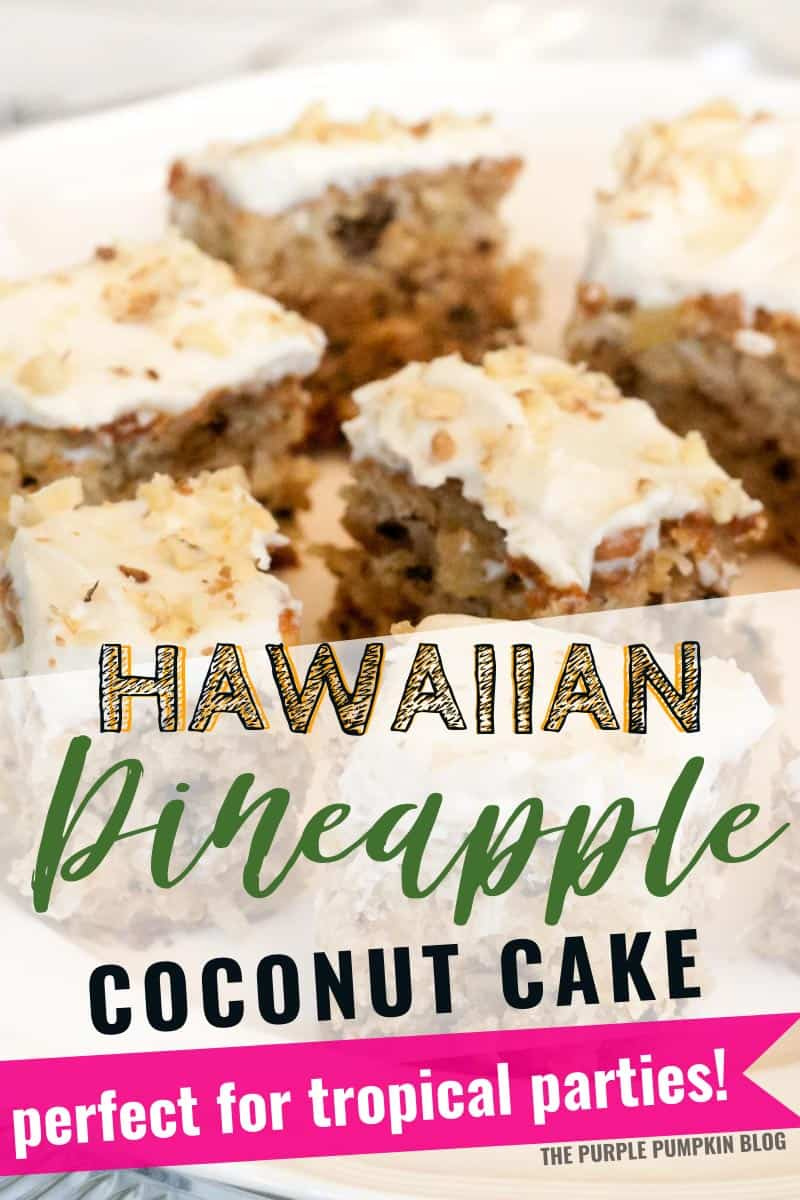 Squares of Hawaiian pineapple coconut cake