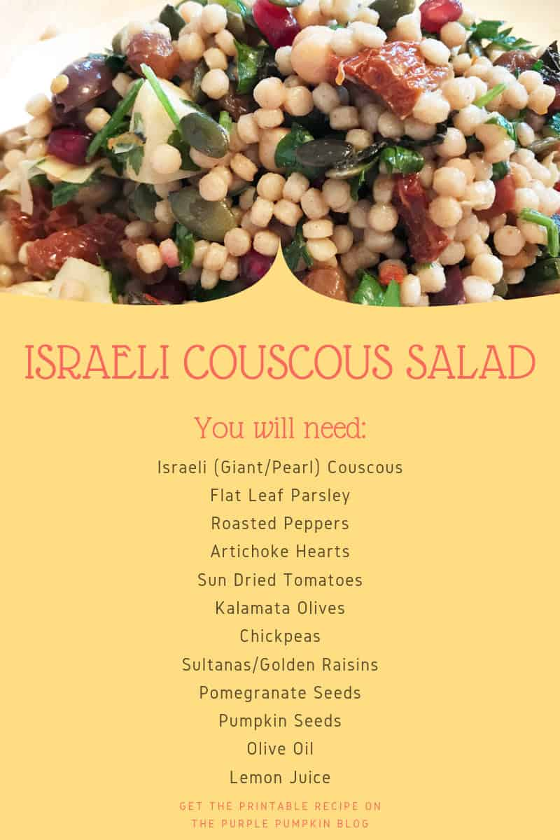 Picture of Israeli Couscous Salad with a list of ingredients