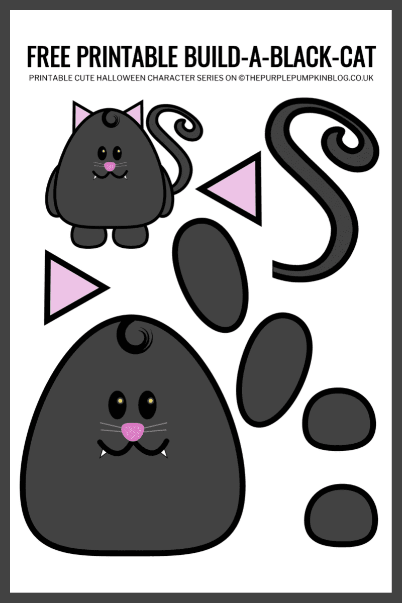 Use this free printable paper cat template to build-a-cat for Halloween!