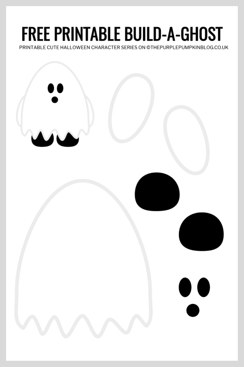 Use this free printable paper ghost template to build-a-ghost for Halloween!