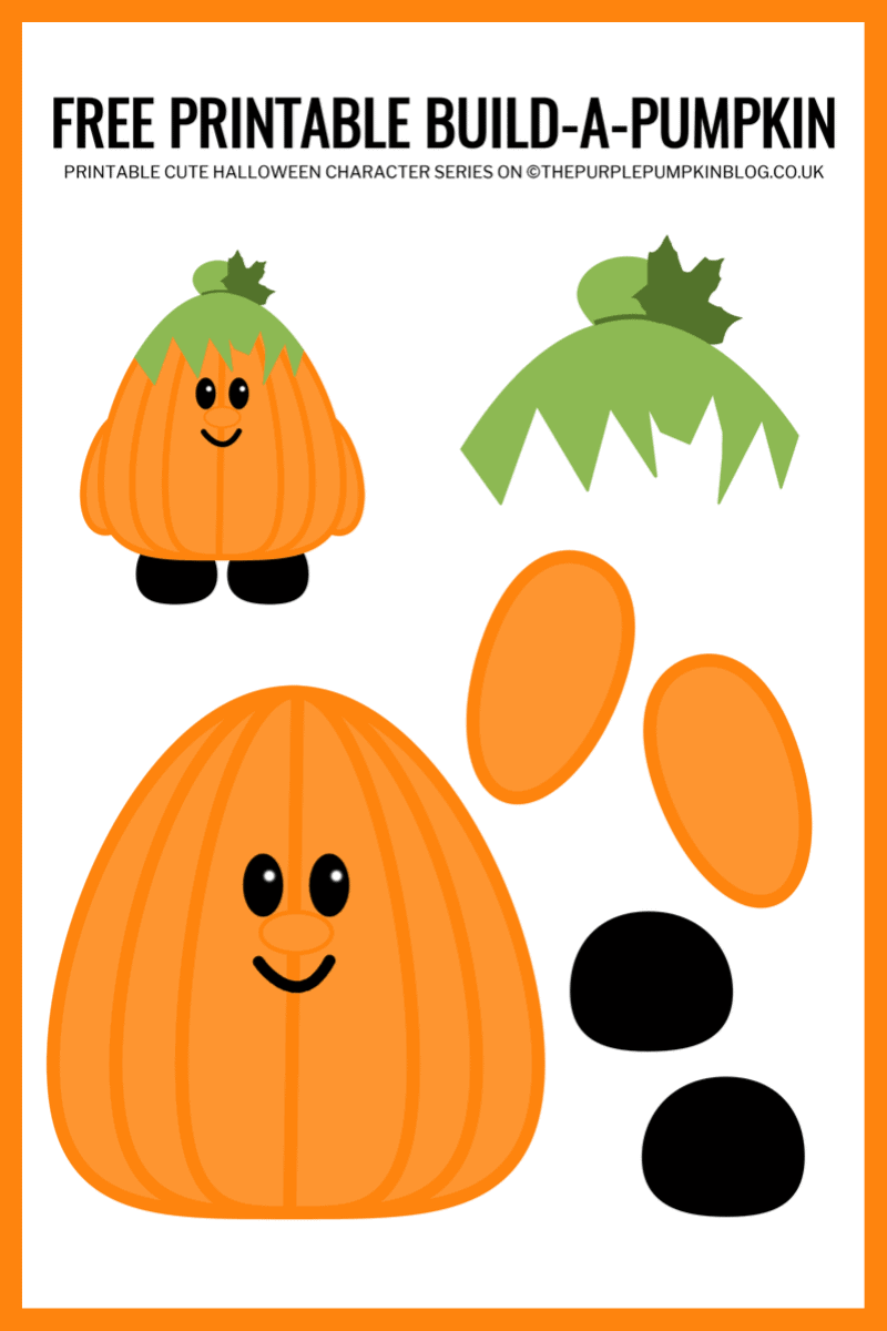 Use this free printable paper pumpkin template to build-a-pumpkin for Halloween!