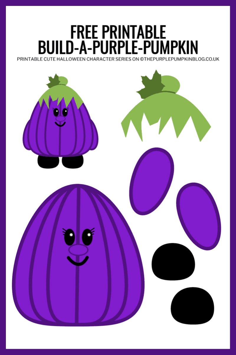 Use this free printable paper purple pumpkin template to build-a-purple-pumpkin for Halloween!