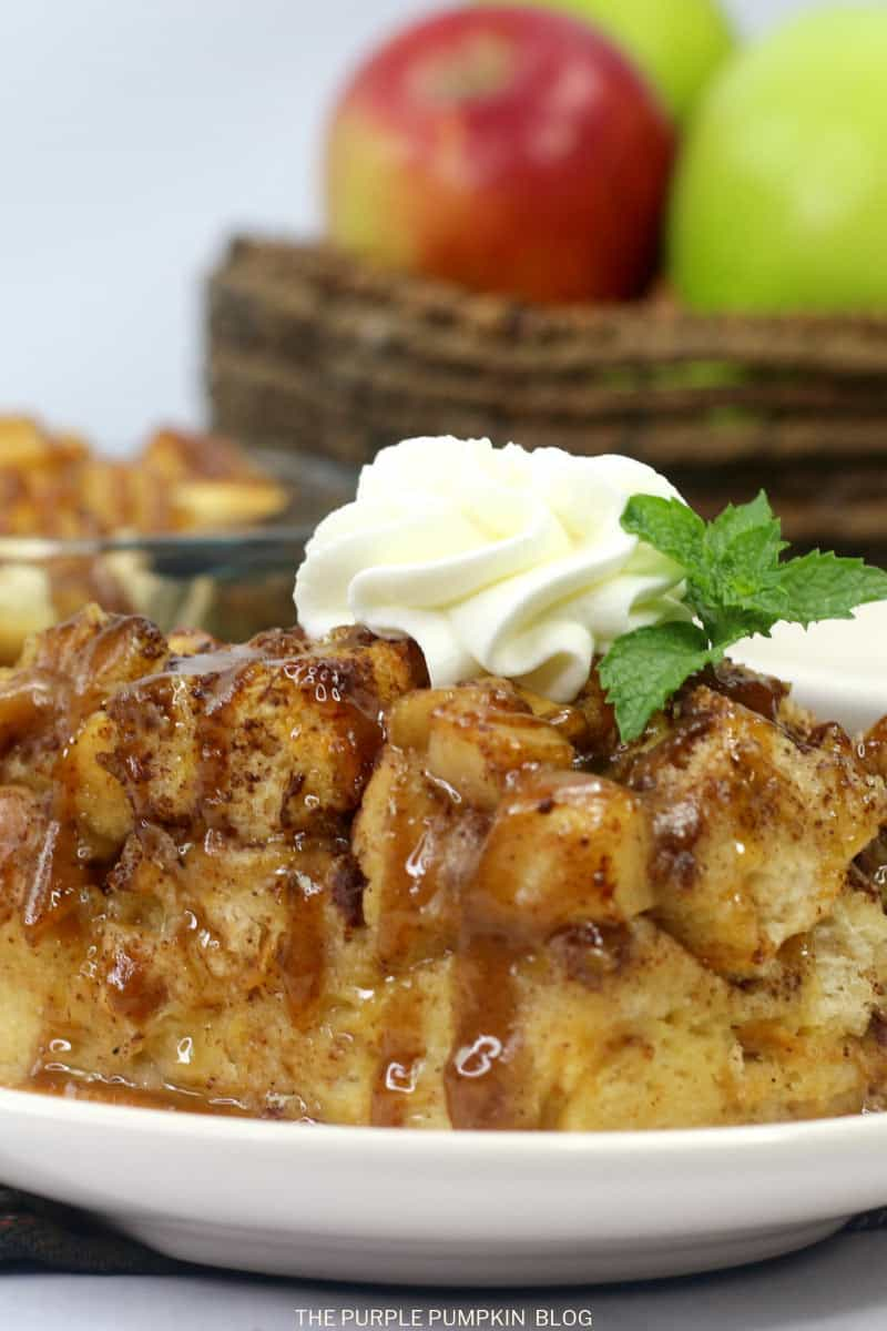 plate of apple bread pudding