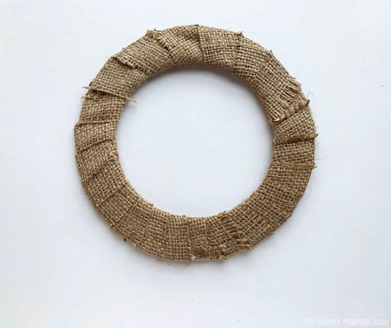Covering wreath base with burlap