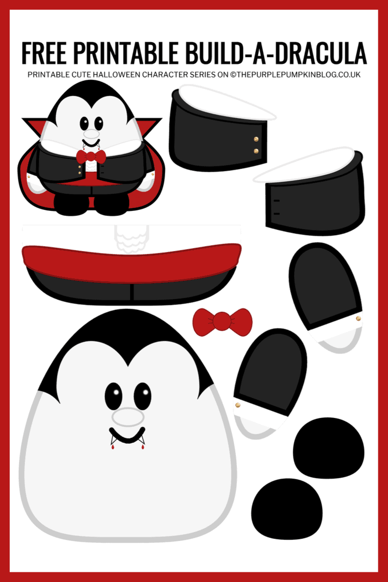 Free Printable Build A Dracula Halloween Paper Craft Template