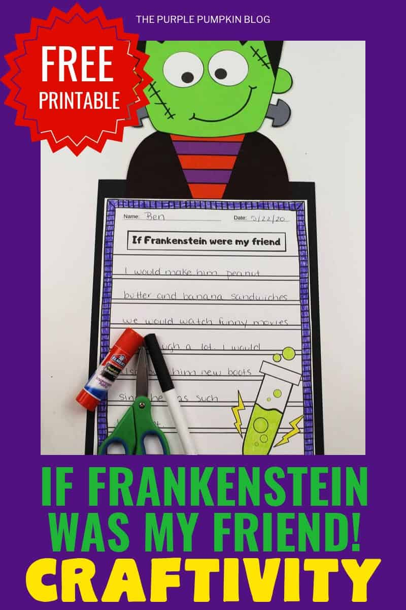 "Free printable""If Frankenstein was my friend!"" Craftivity"