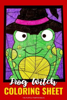 Free Printable Frog Witch Coloring Sheet