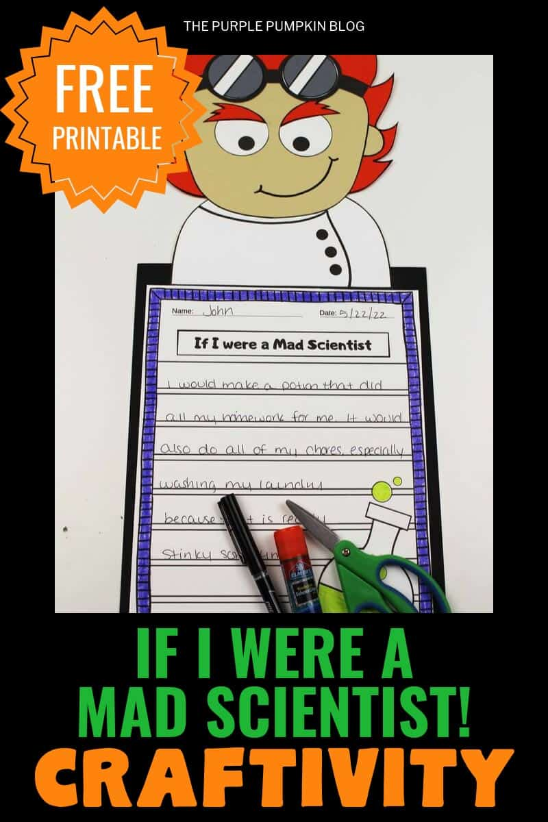 """Free Printable""""If I Were A Mad Scientist"""" Craftivity"""