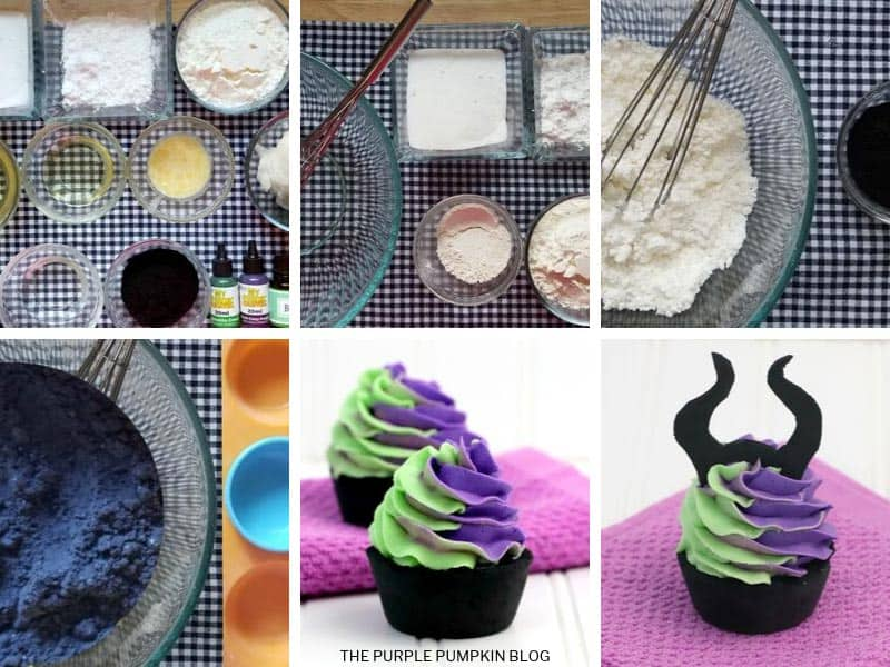 Step-by-Step images showing how to make cupcake bath bombs for Halloween