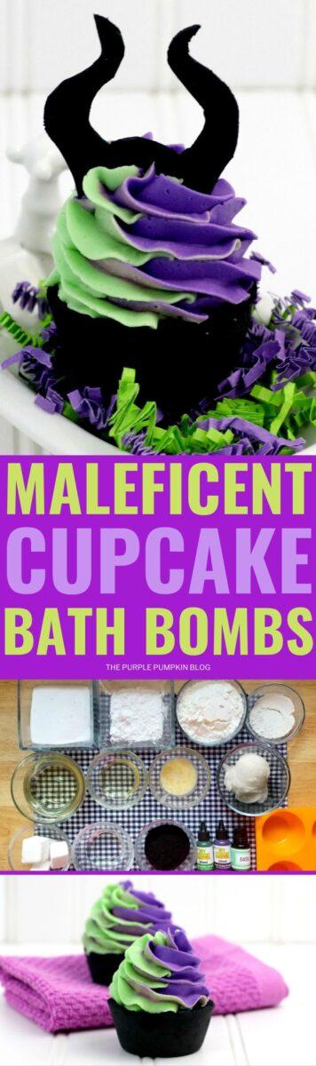 Maleficent cupcake bath bombs