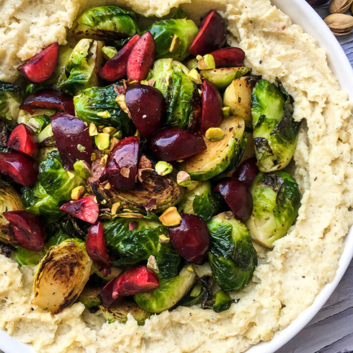 Roasted Cauliflower Mash with Crispy Brussels Sprouts