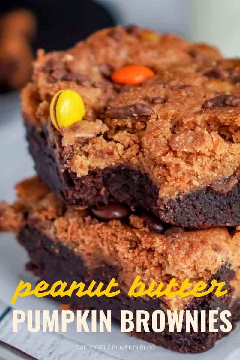 stack of peanut butter pumpkin brownies.