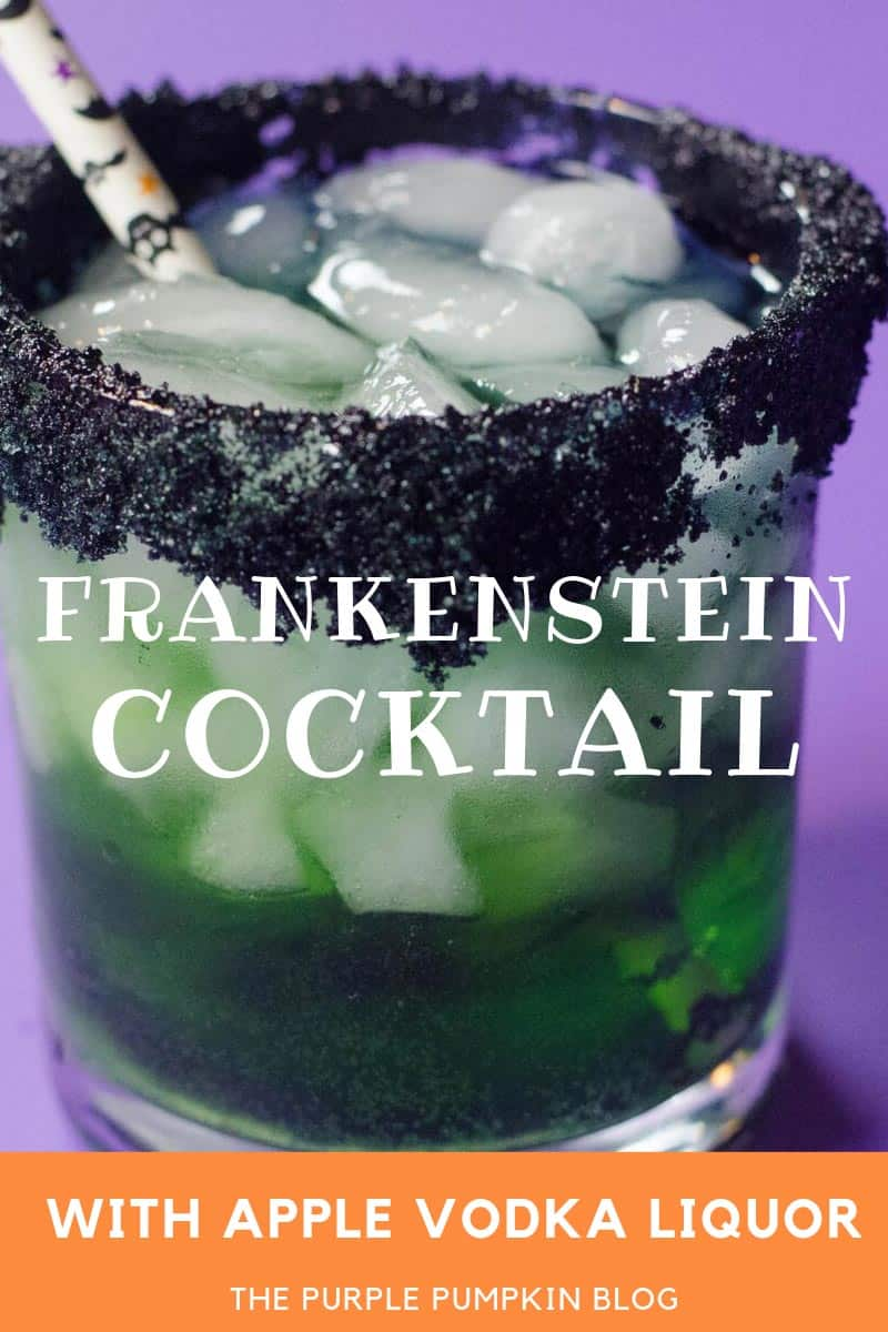 frankenstein cocktail with apple vodka liquor