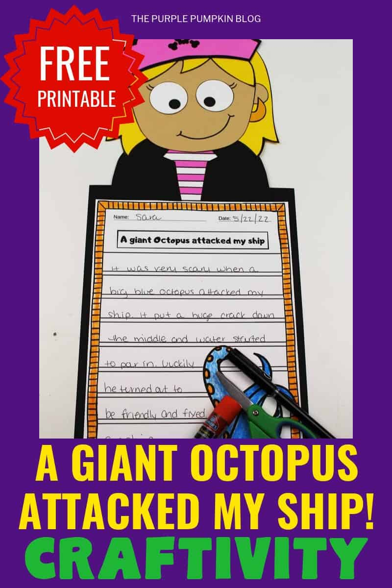 "Free Printable""A Giant octopus attacked my ship"" craftivity"