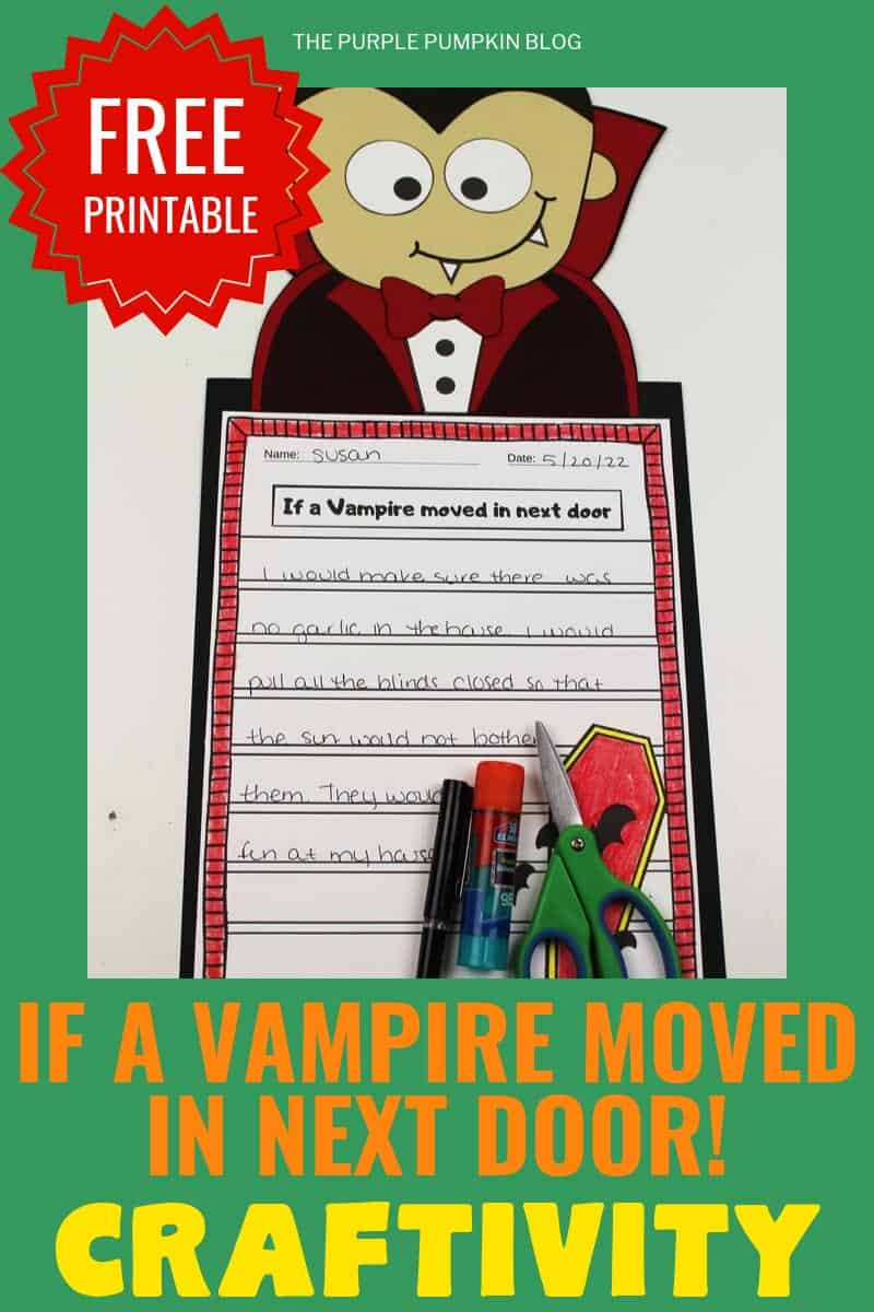 """Free printable""""If a vampire moved in next door"""" craftivity"""