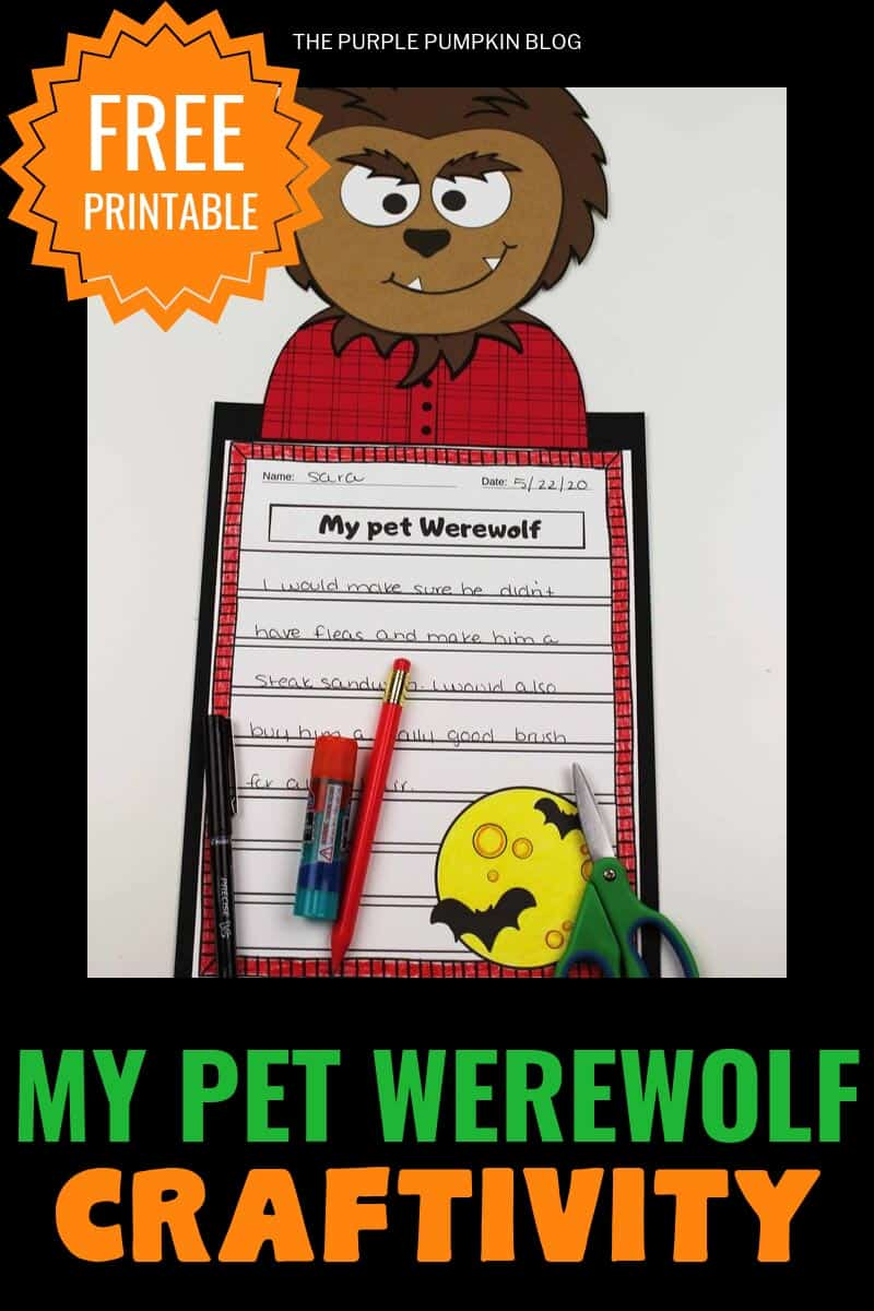 "Free printable""My pet werewolf"" craftivity"