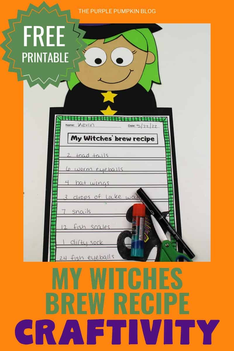 "Free Printable""my witches brew recipe"" craftivity"