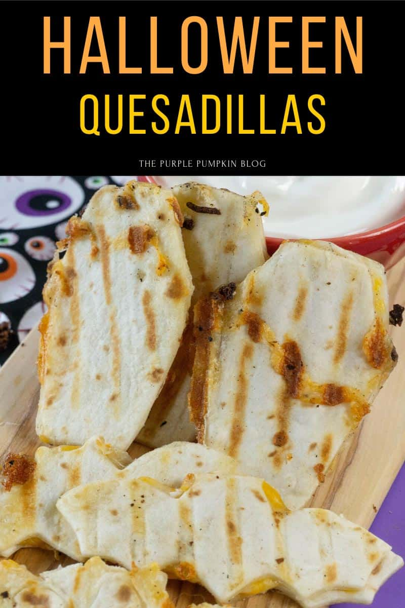 coffin and bat shaped quesadillas