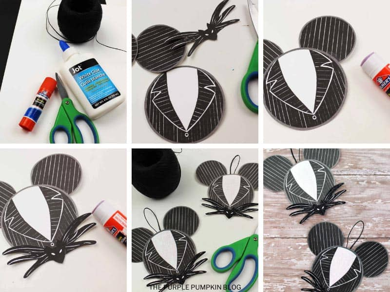 Step by step photos demonstrating how to make a Jack Skellington paper ornament