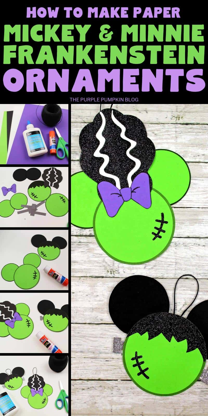 How to make paper Mickey and Minnie Frankenstein ornaments