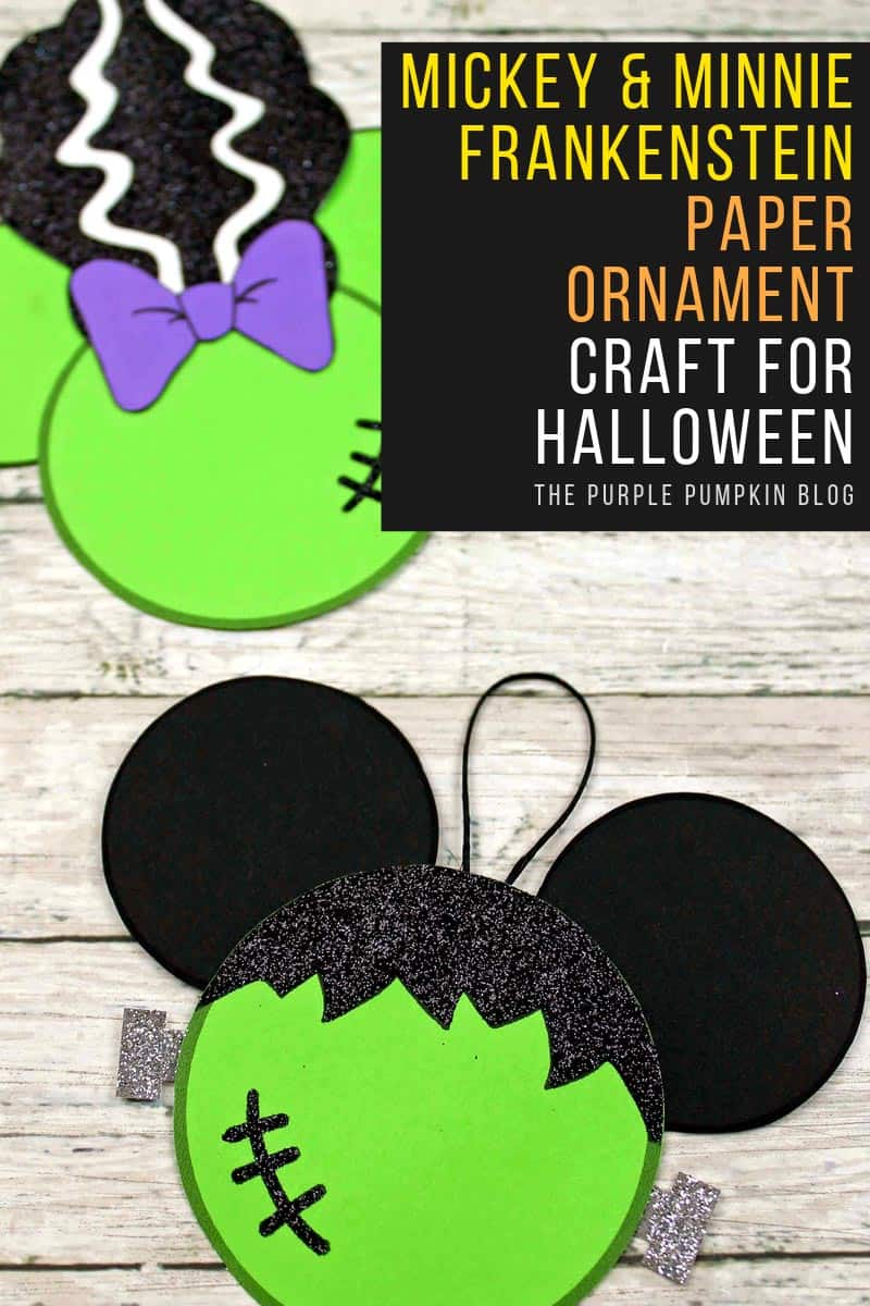 Mickey & Minnie Frankenstein Paper Ornament Craft for Halloween