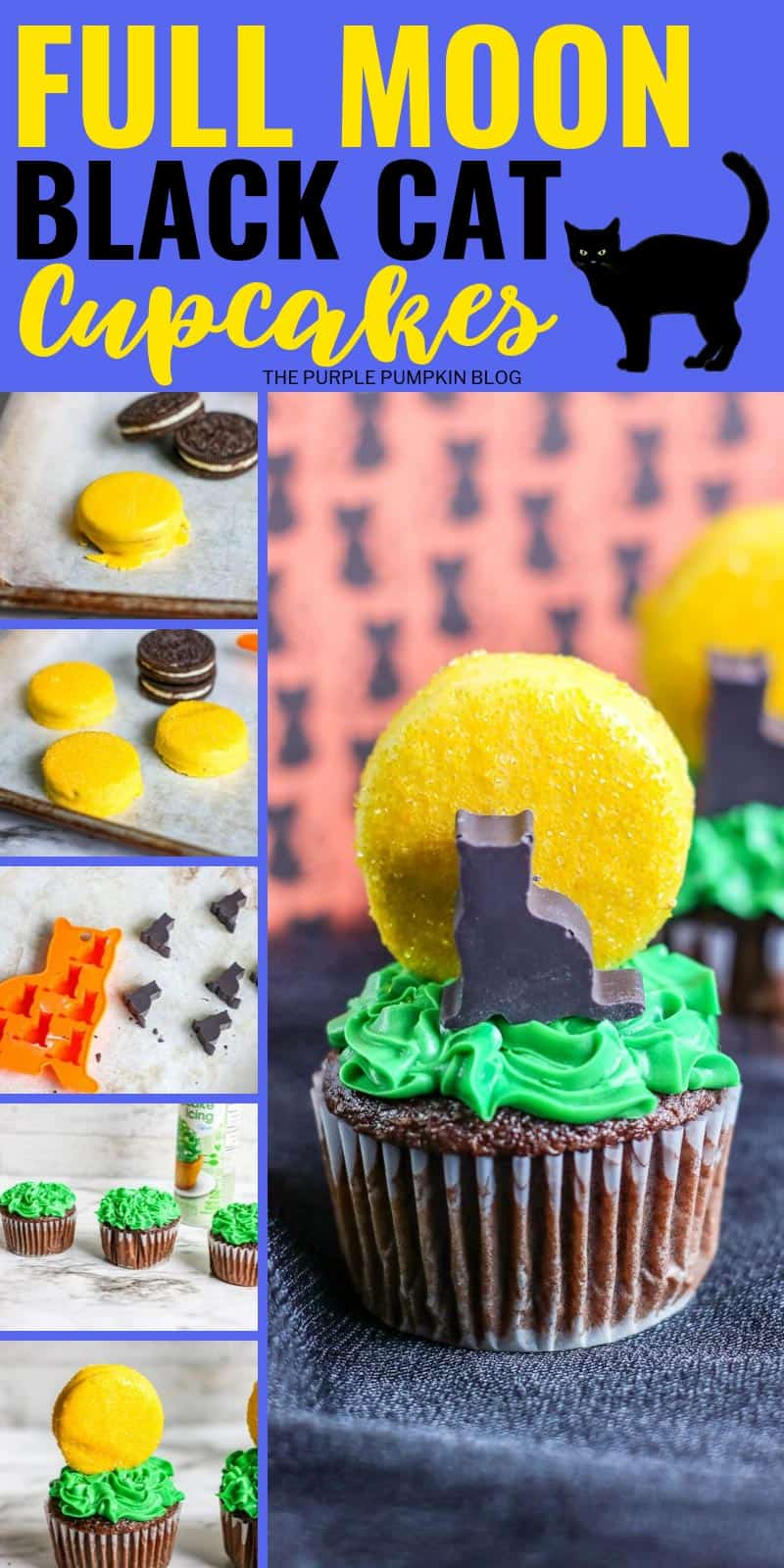 how to make full moon black cat cupcakes for halloween
