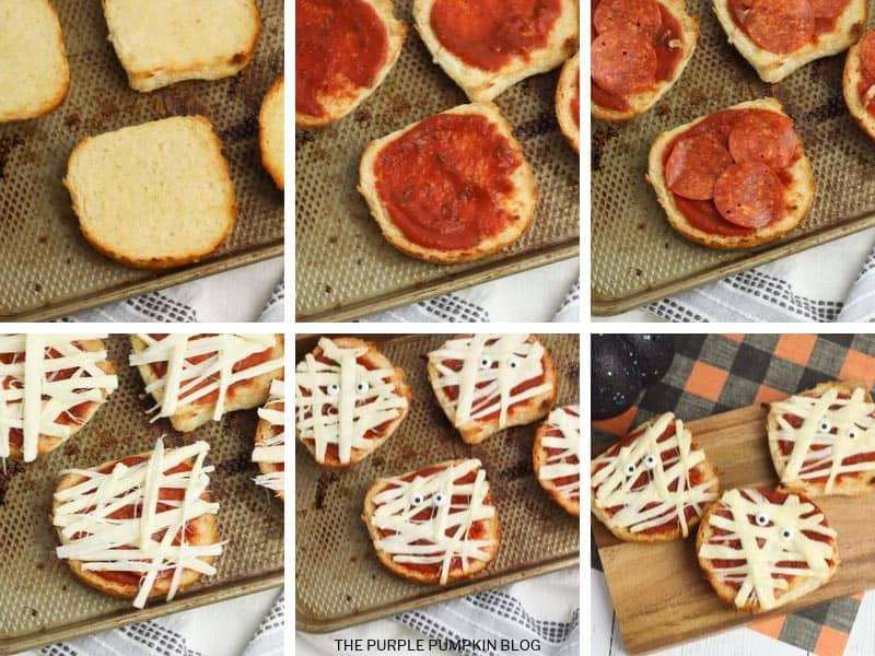 Recipe card with step-by-step images for mini mummy pizzas