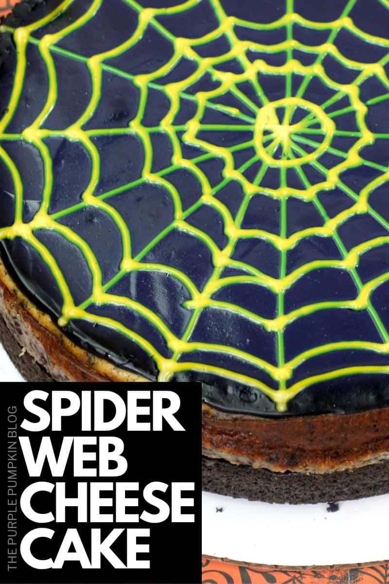 Overhead shot of spiderweb cheesecake