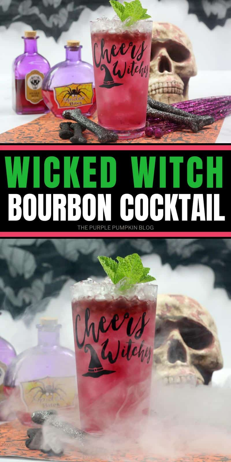2 images of Wicked Witch cocktail one with bones and potions in the background, and the other with smoke surrounding the glass.