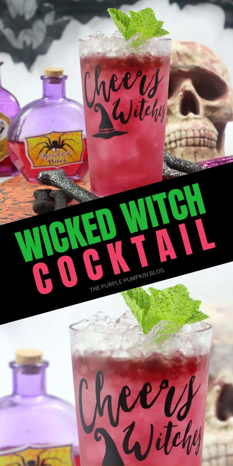 Wicked Witch Cocktail - close up shots of beverage