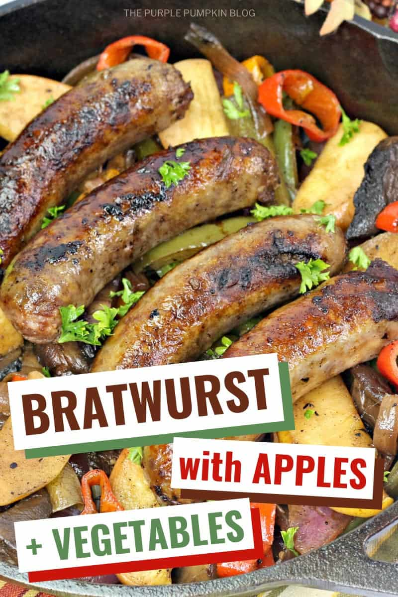 Bratwurst skillet with apples and vegetables
