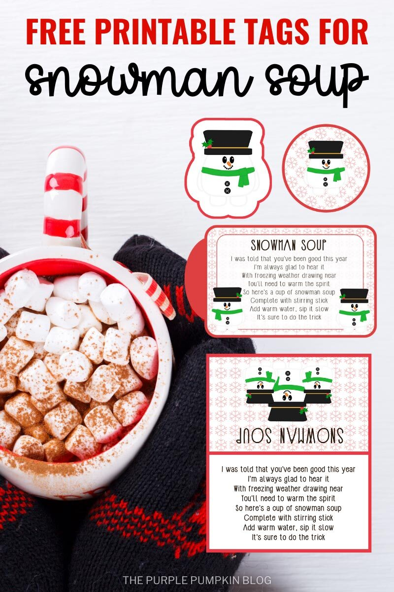 Free Printable Tags for Snowman Soup