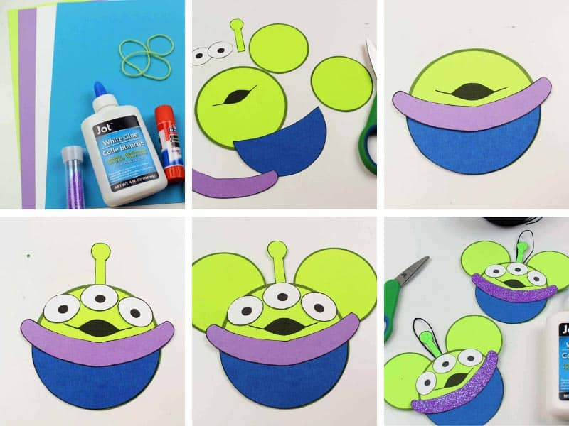 step by step photos demonstrating how to make a Toy Story Alien ornament