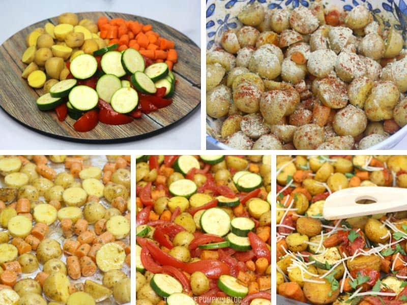 Recipe card with step by step photos demonstrating how to make Italian Roasted Vegetables