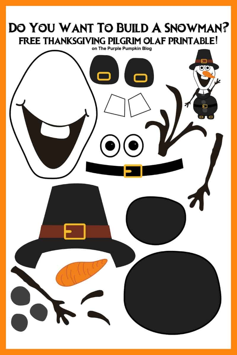 Thanksgiving Olaf Pilgrim Free Printable