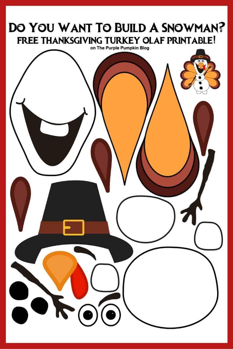 Thanksgiving Turkey Olaf Printable