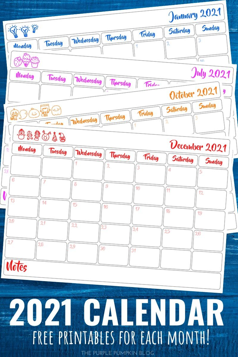 2021 Calendar Free Printables for Each Month