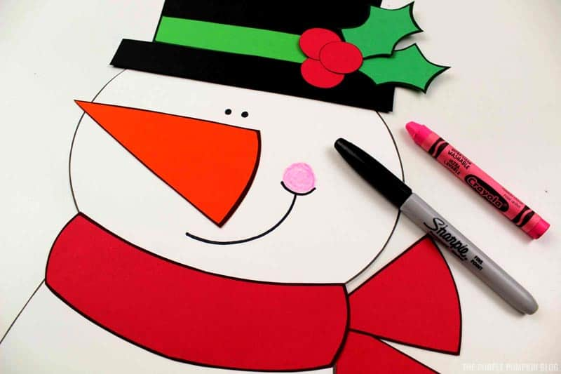 Adding features to snowman's face