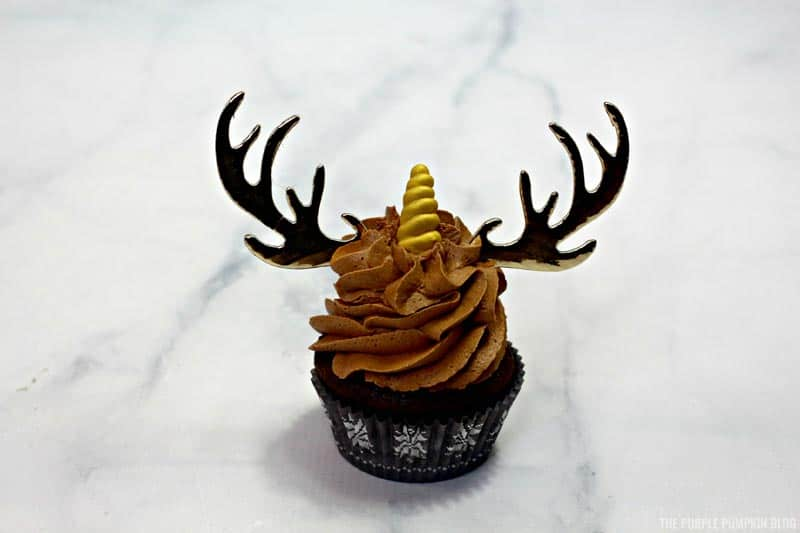 Unicorn horn on cupcakes