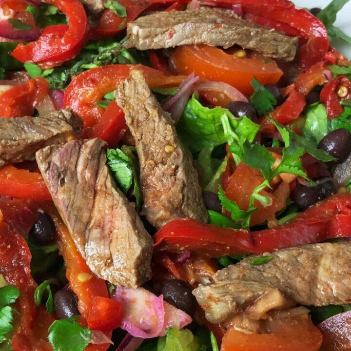 Plate of Fajitas Steak Salad
