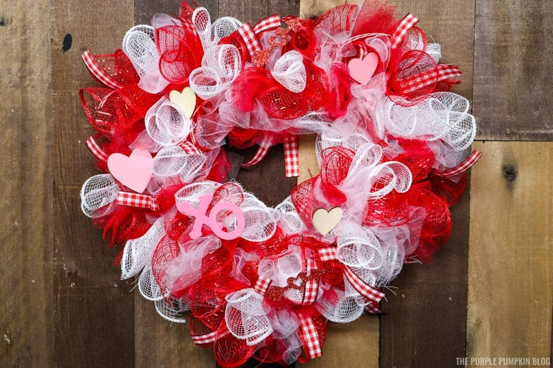 Completed Heart Shaped Deco Mesh Wreath
